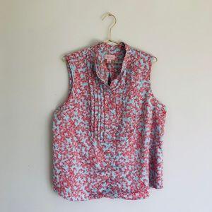 Cabernet L blue pink floral pintuck tank top shirt